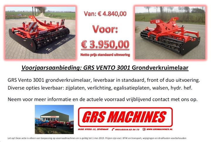 Voorjaarsaanbieding GRS Vento 3001 grondverkruimelaar